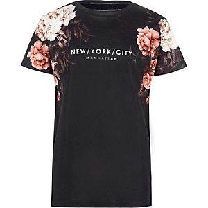 Marineblauw gebloemd T-shirt met 'New York City'-print