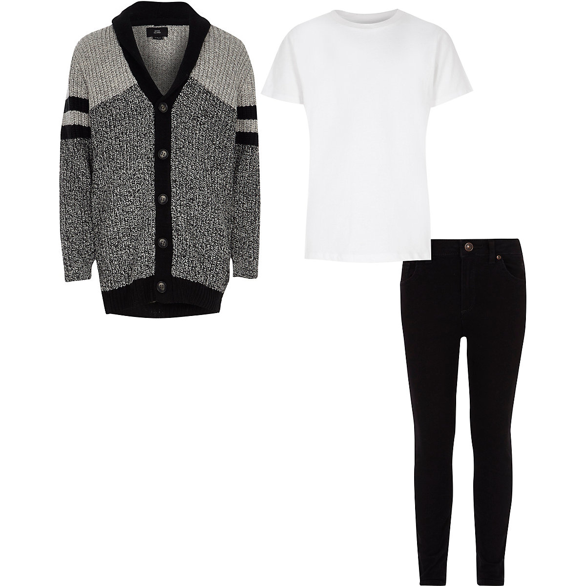 Boys grey cardigan and skinny jeans outfit