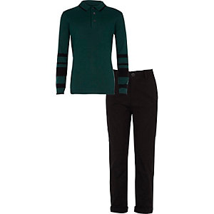 Boys green polo shirt and chinos outfit
