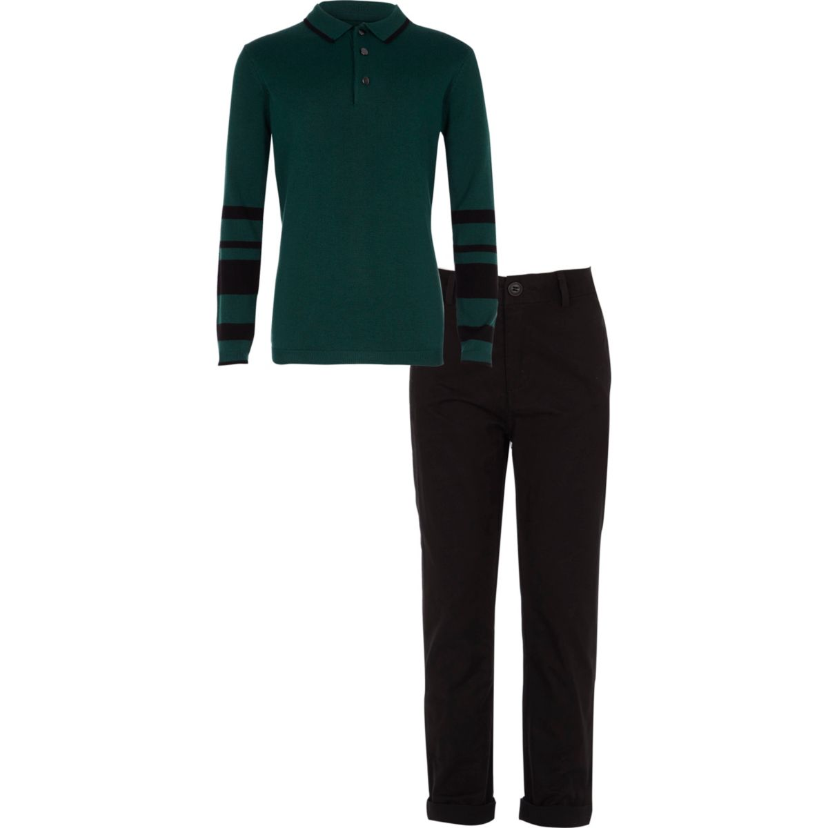 Boys Green Polo Shirt And Chinos Outfit Polo Shirts