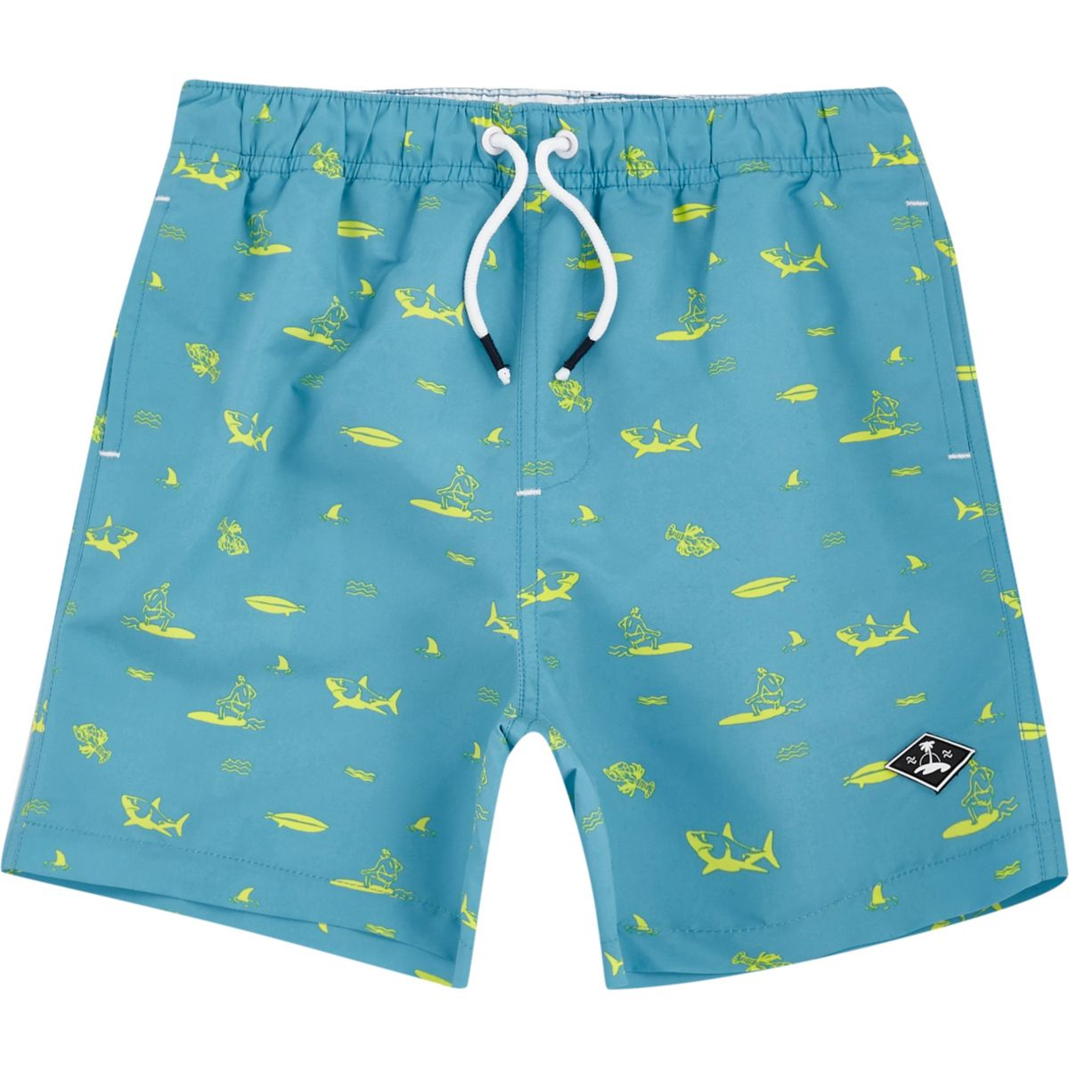 Boys blue shark print swim shorts