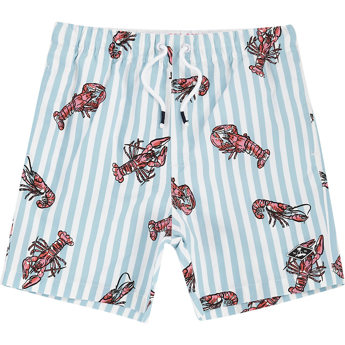Boys blue lobster print swim shorts