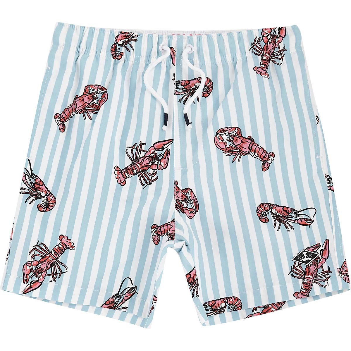 Blaue Badeshorts mit Lobster-Print