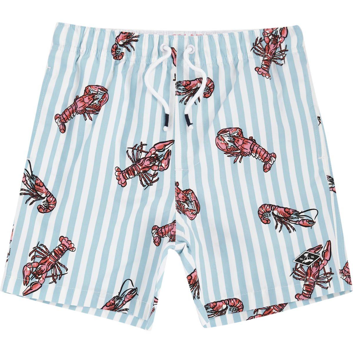 Boys blue lobster print swim trunks