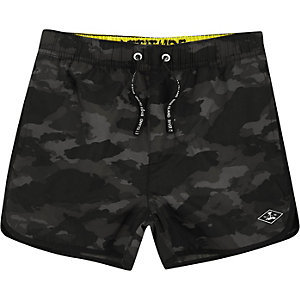 Boys khaki print swim shorts