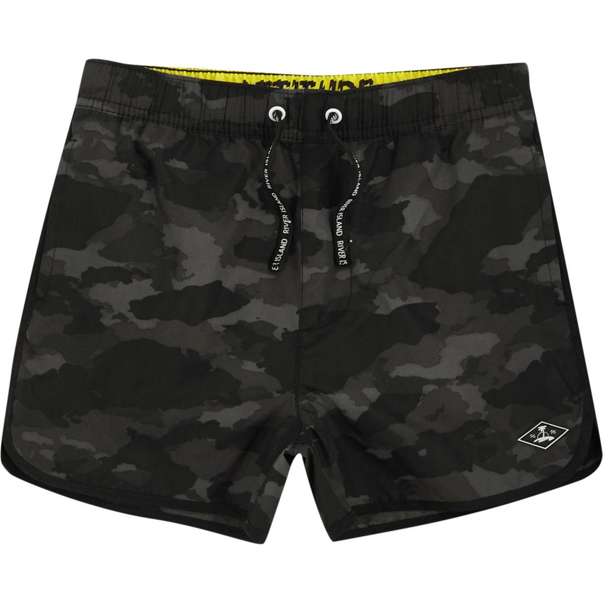 Boys khaki print swim trunks