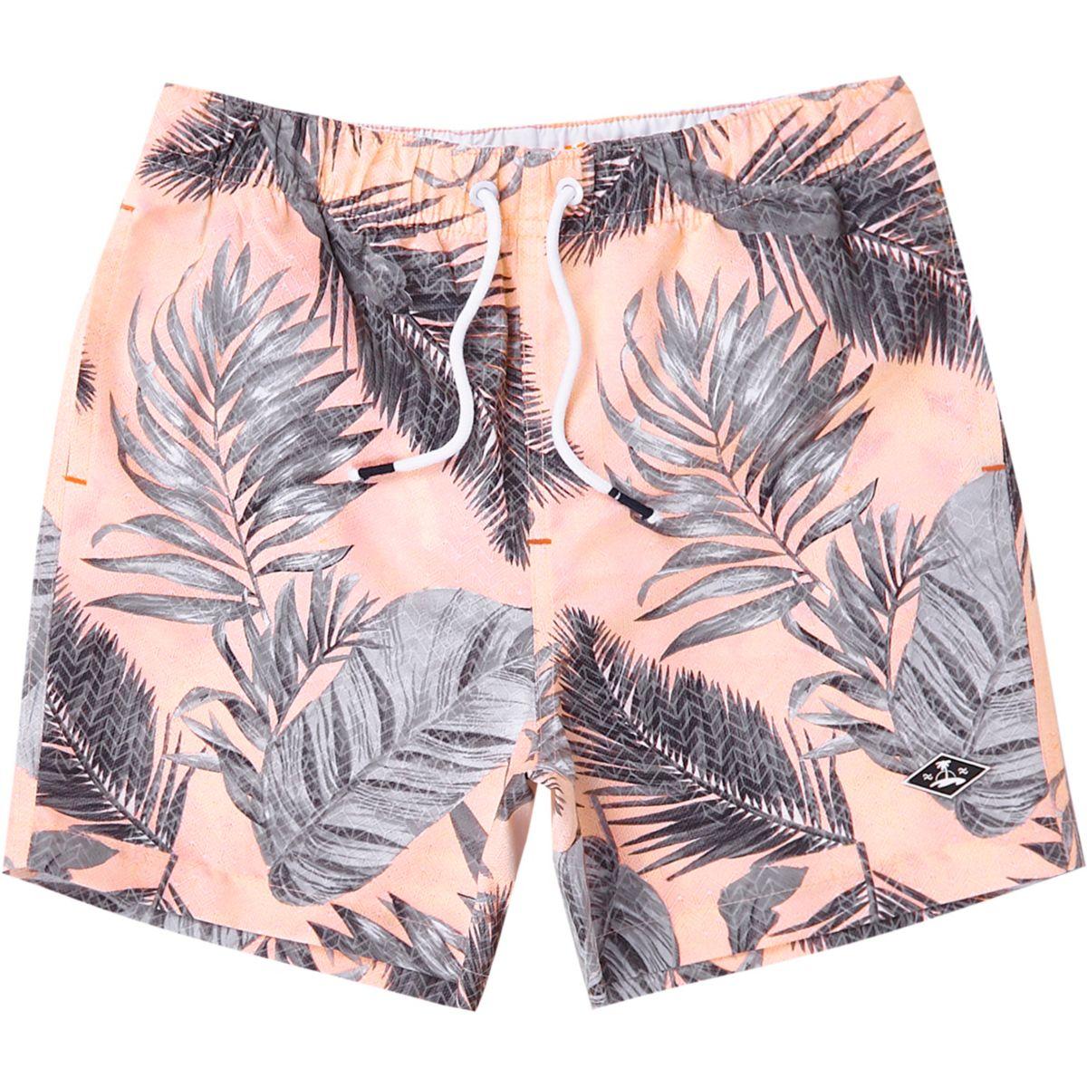 Boys pink floral print swim shorts
