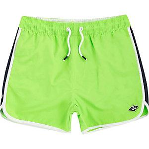 Boys bright green runner swim shorts