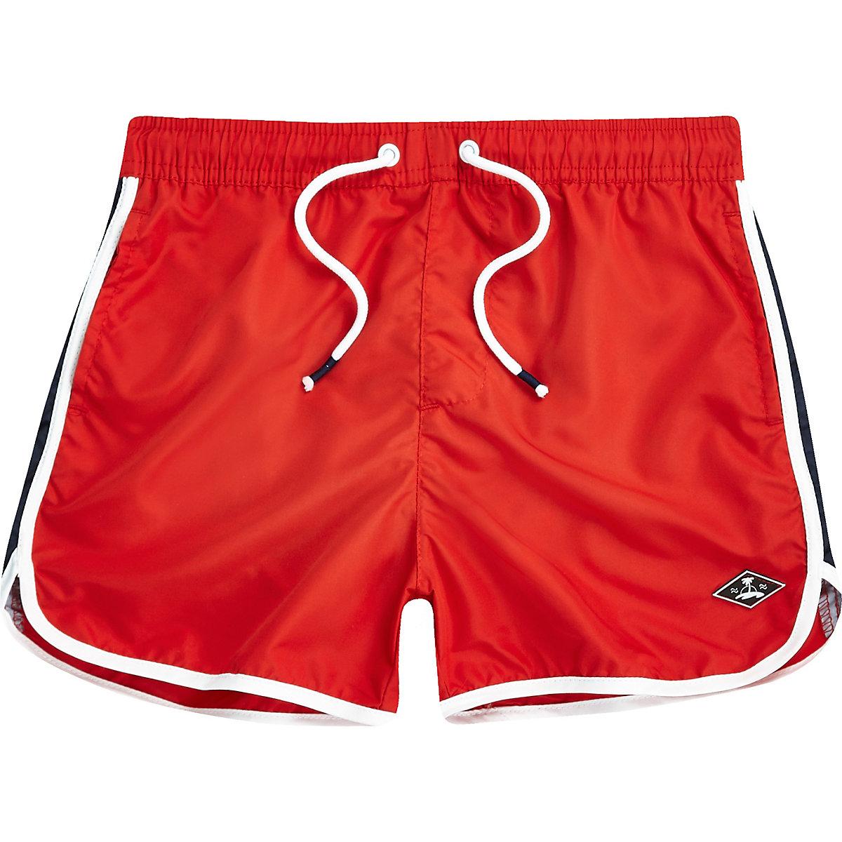 Boys red runner swim shorts