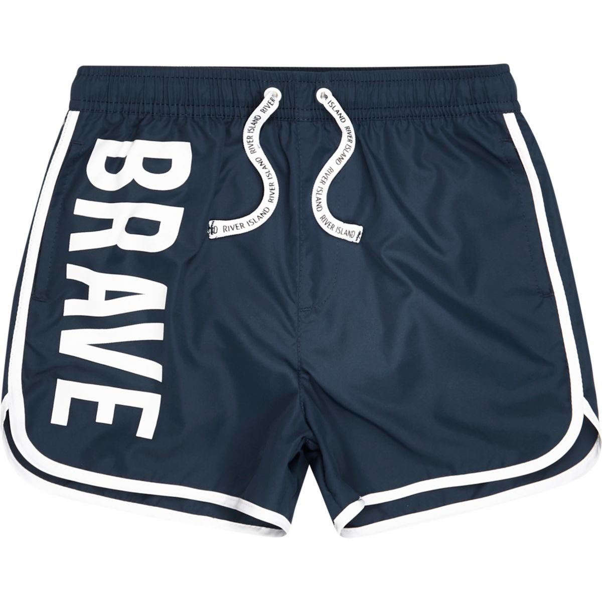 Boys blue RI 'brave' print runner swim shorts