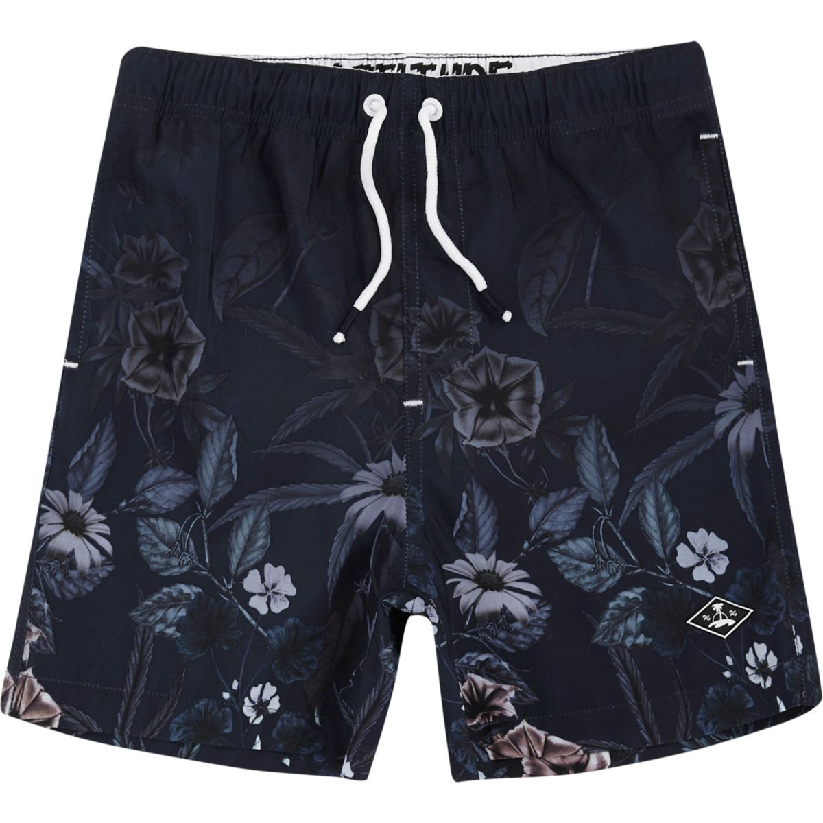 Boys navy floral fade print swim shorts