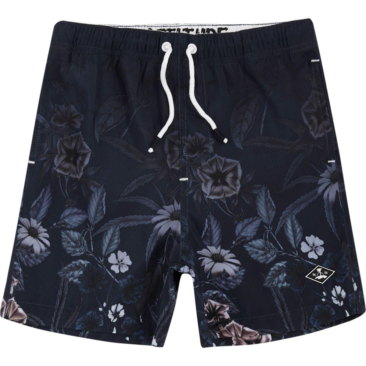 Boys navy floral fade print swim trunks