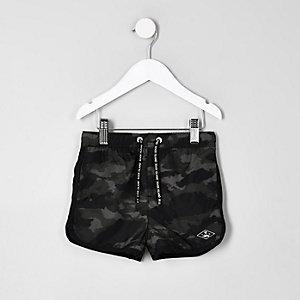 Mini - Kaki zwemshort met print voor jongens