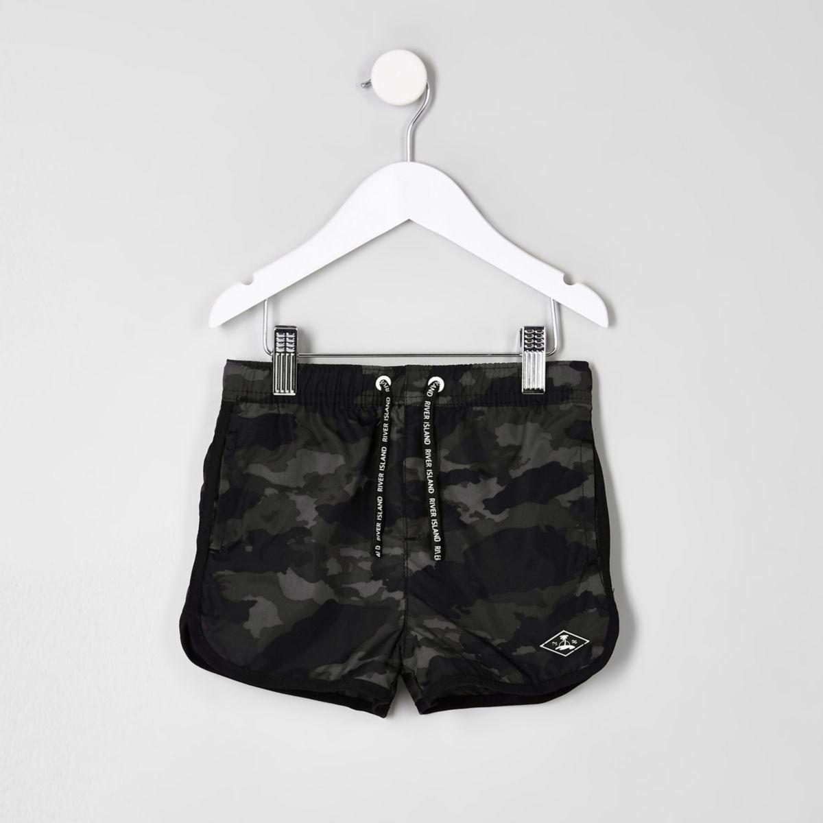 Mini boys khaki print swim trunks