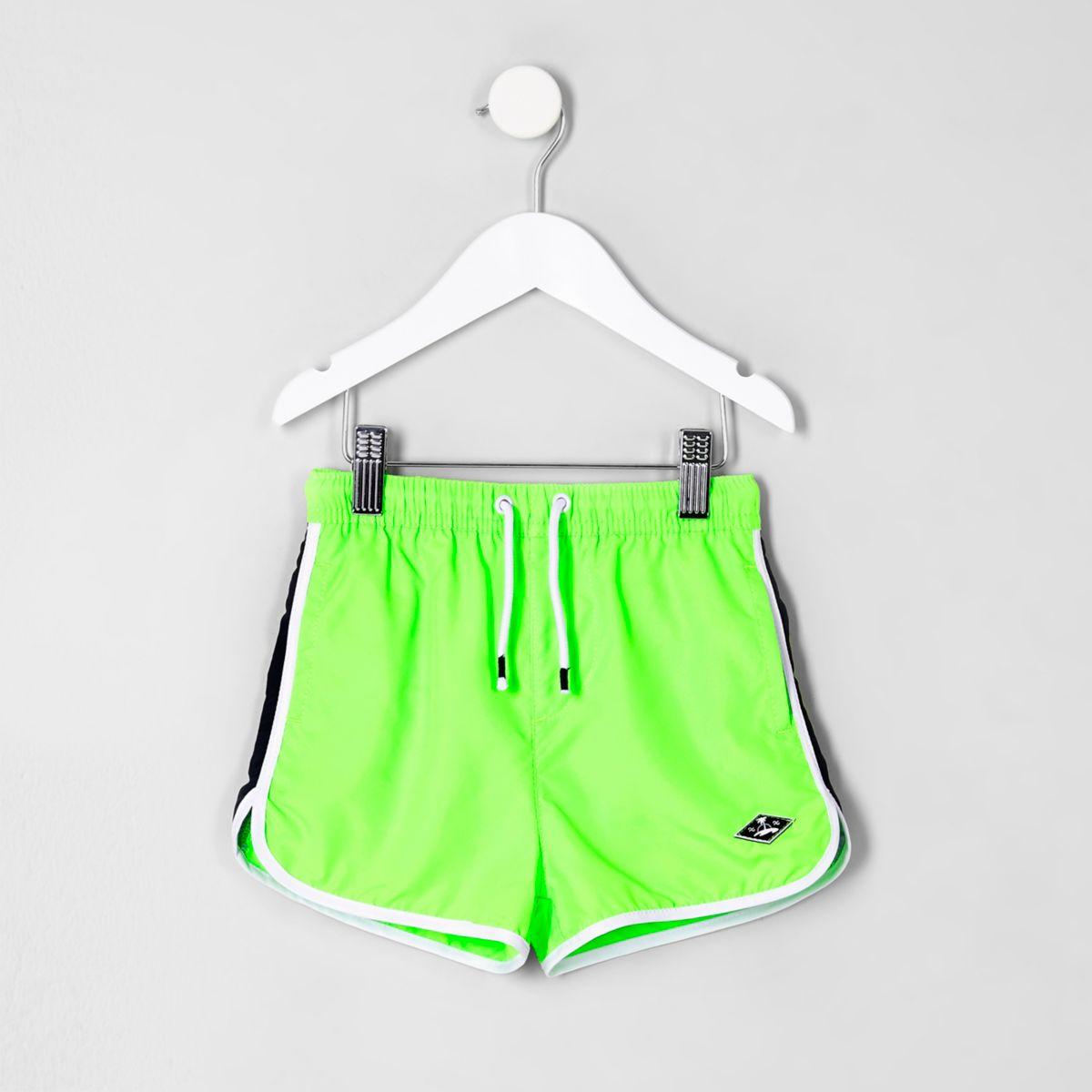Mini boys lime green swim shorts
