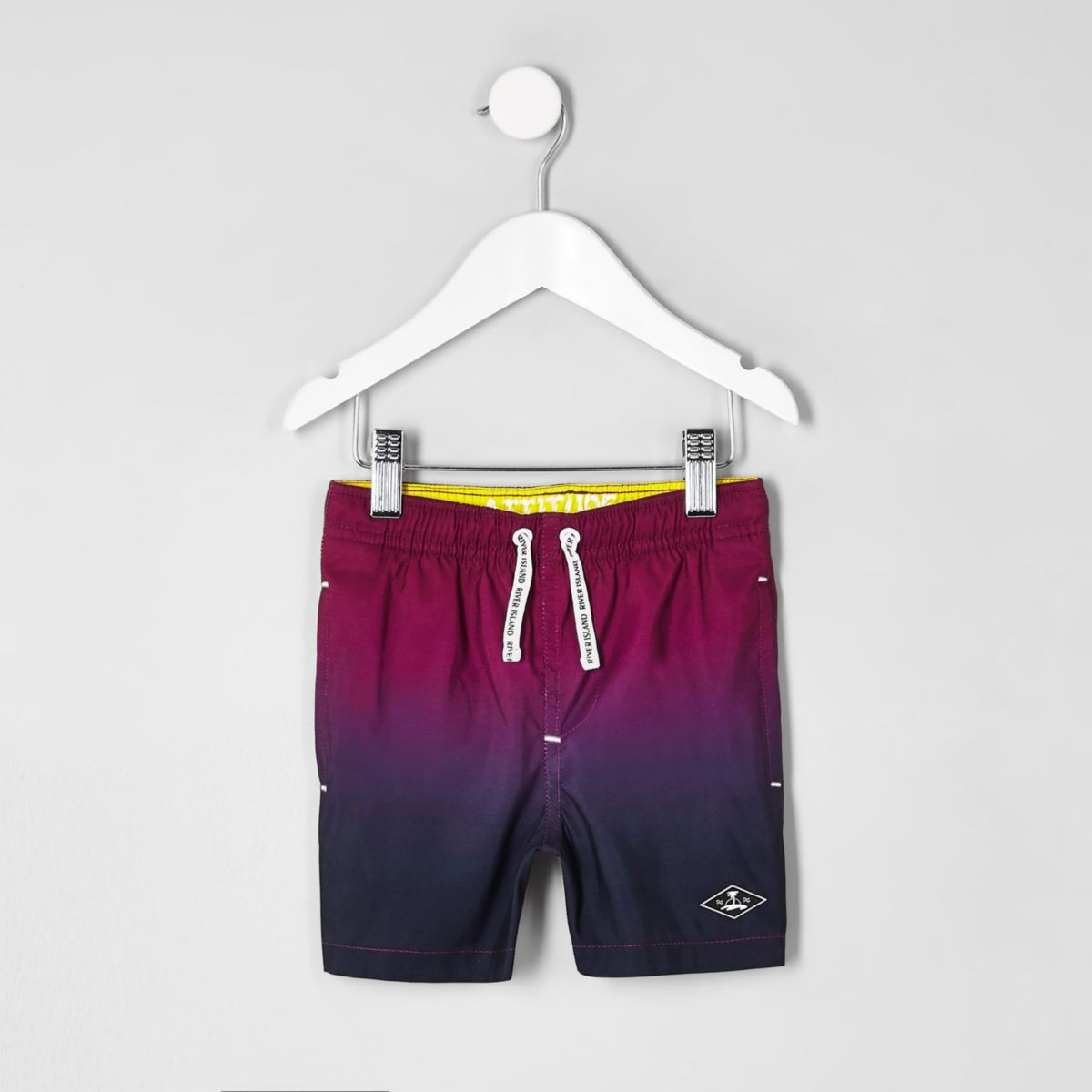 Mini boys pink dip dye swim trunks