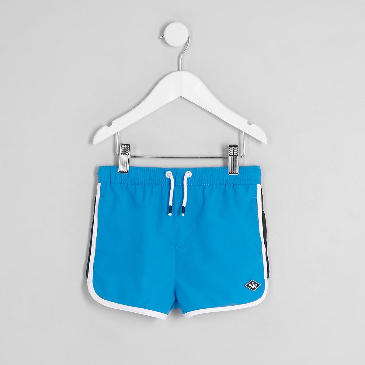 Mini boys blue runner swim trunks