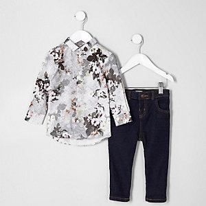 Ensemble avec chemise motif géométrique à fleurs blanche mini garçon