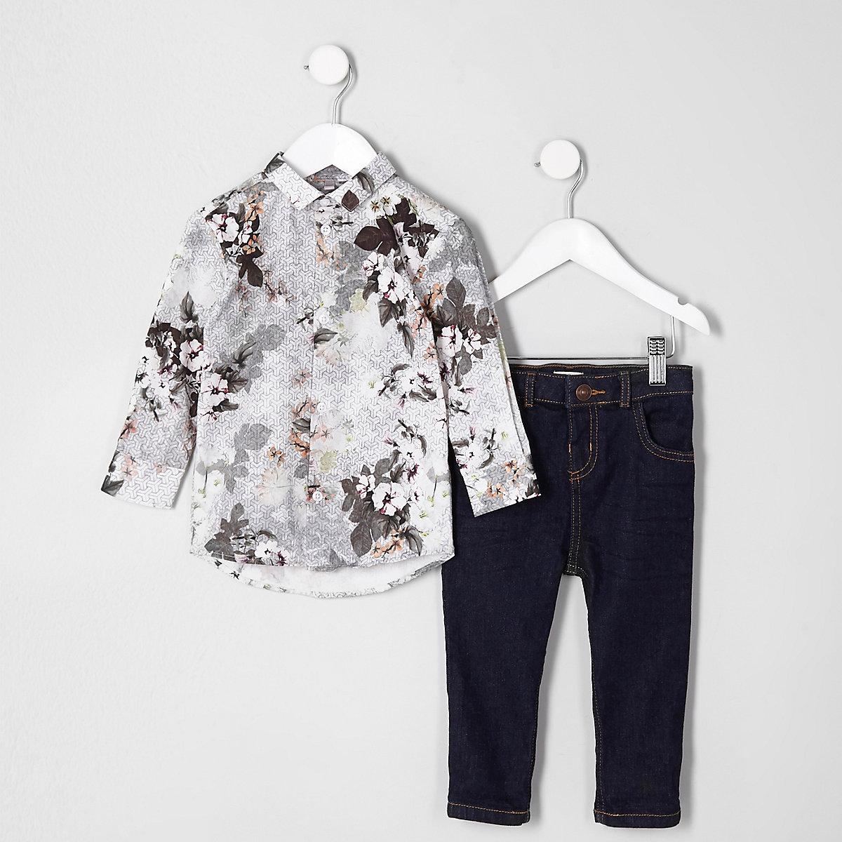 Mini boys white floral geo shirt outfit