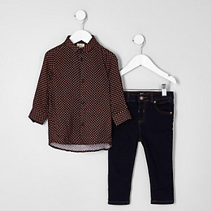 Mini boys black print shirt and jeans outfit