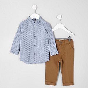 Mini - Outfit met shirt met paisleyprint en chino voor jongens