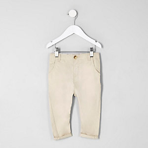 Steingraue Slim Fit Chino-Hose
