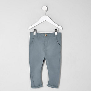 Mini - Blauwe slim-fit chino voor jongens