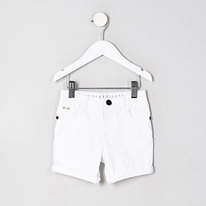 Mini boys Dylan white denim shorts