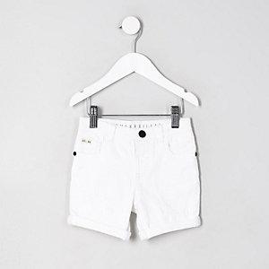 Mini - Dylan - Witte denim short voor jongens