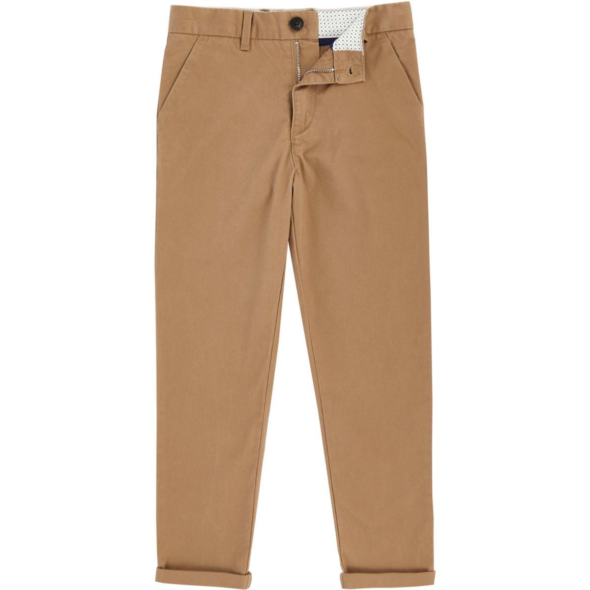 Boys tan slim fit chino pants