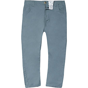 Boys light blue tapered chino trousers