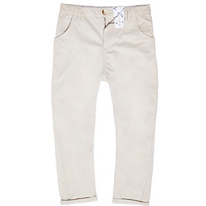 Boys stone tapered chino trousers