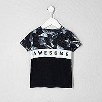 Mini boys black 'awesome' block T-shirt