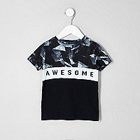 Mini - Zwart T-shirt met 'awesome'-print voor jongens