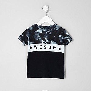T-shirt noir avec inscription «awesome» contrastante mini garçon