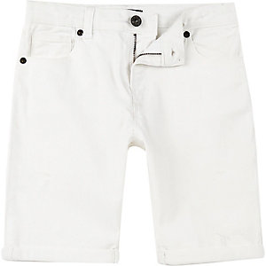 Boys white Dylan slim fit denim shorts