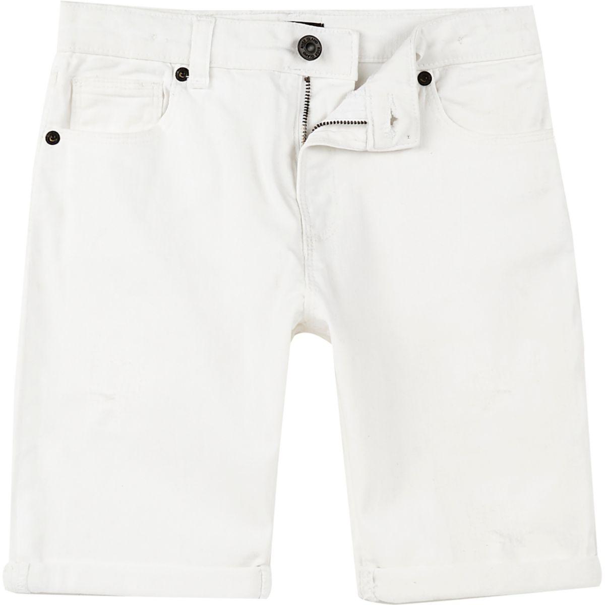 Boys white Dylan slim fit denim shorts