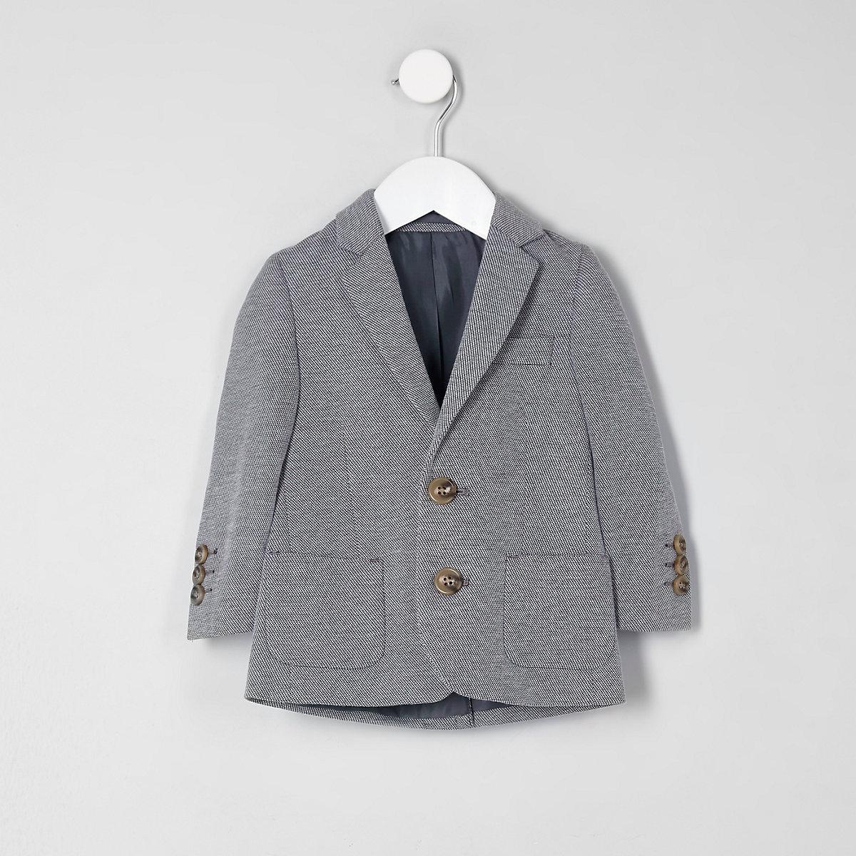Blazer en jersey gris chiné mini garçon