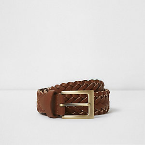 Boys brown plaited buckle belt