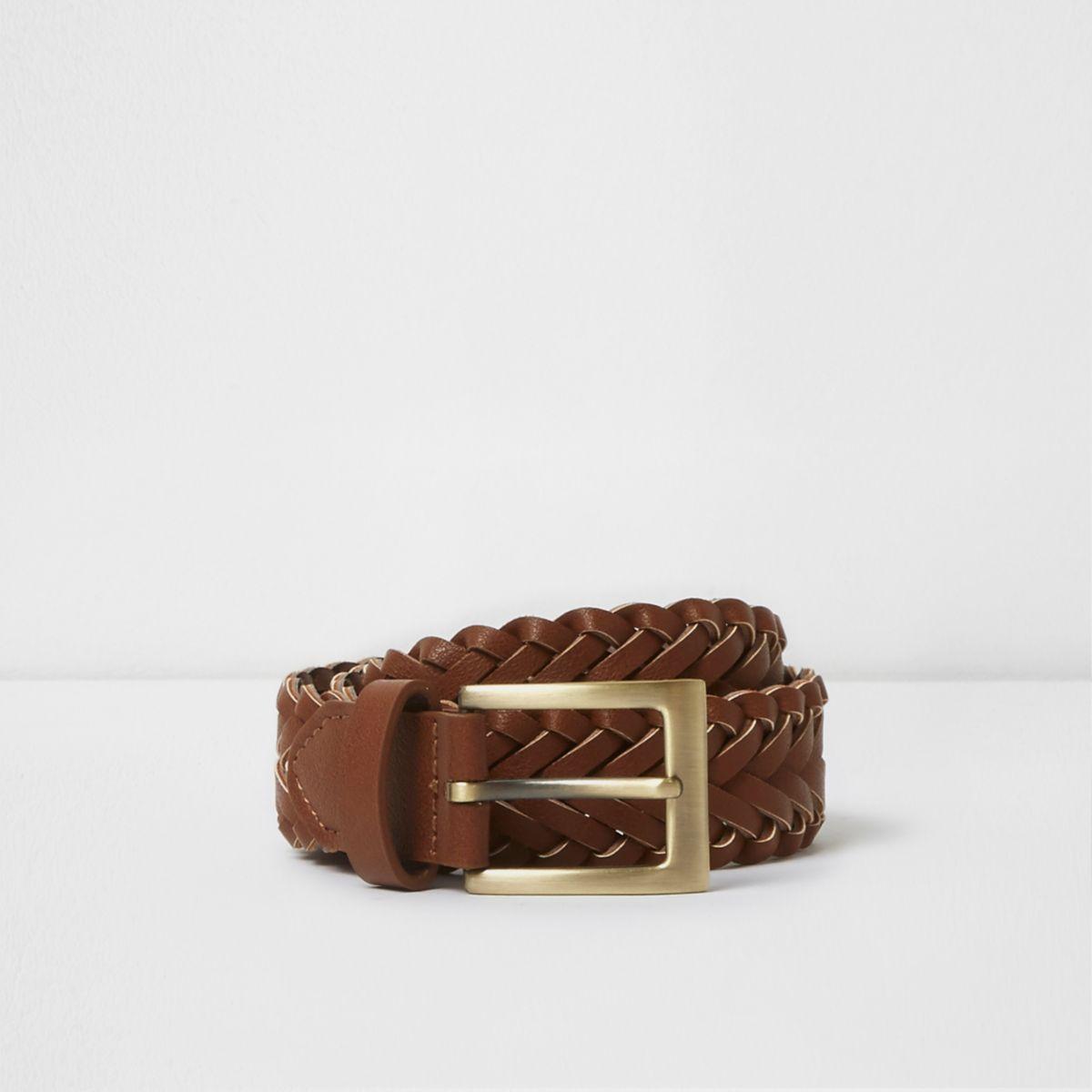 Boys brown plaited buckle belt