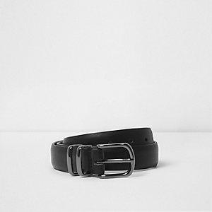 Zwarte riem met dubbele ringen en gesp voor jongens