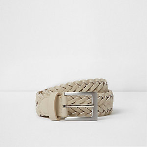 Boys white plaited buckle belt