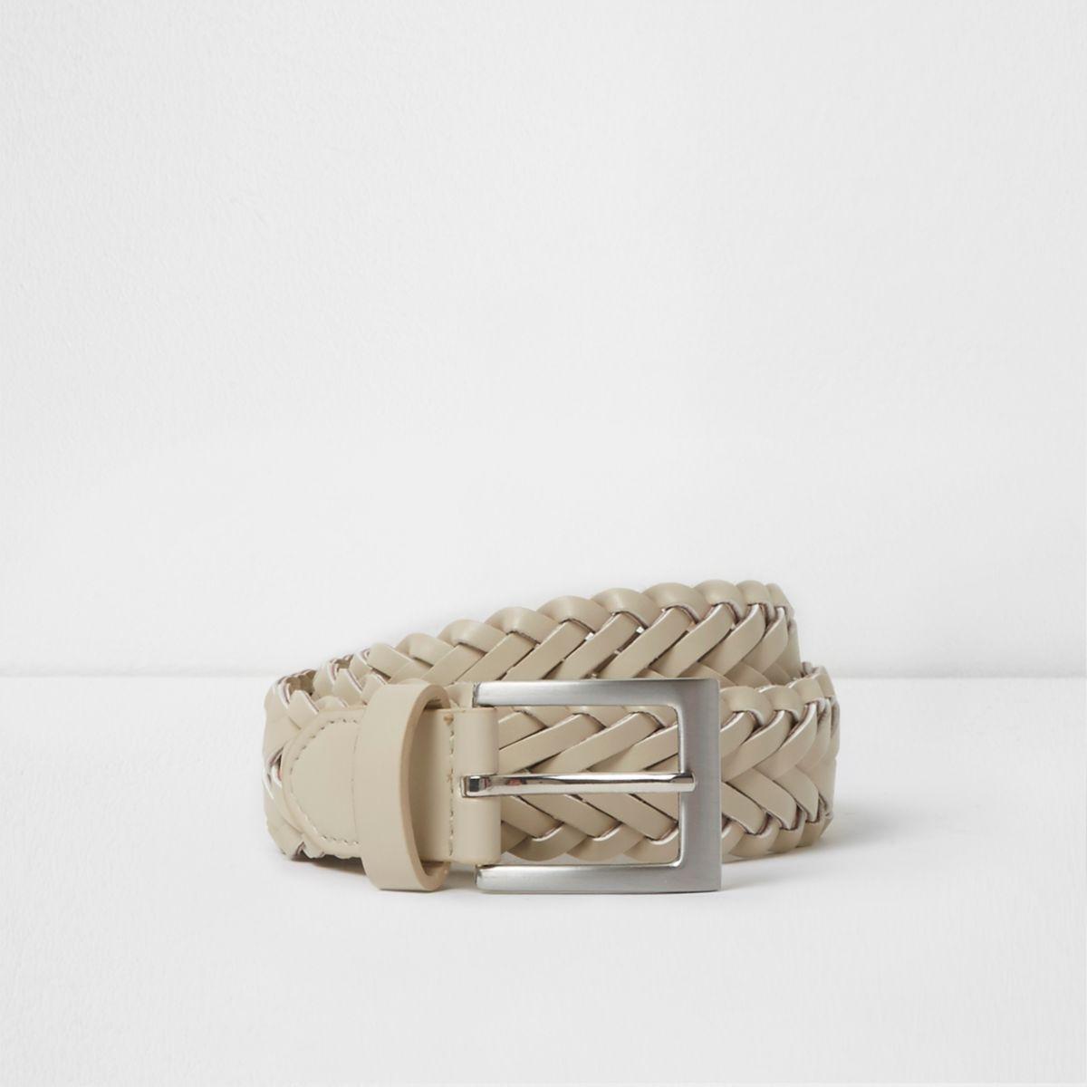 Boys white plaited buckle belt