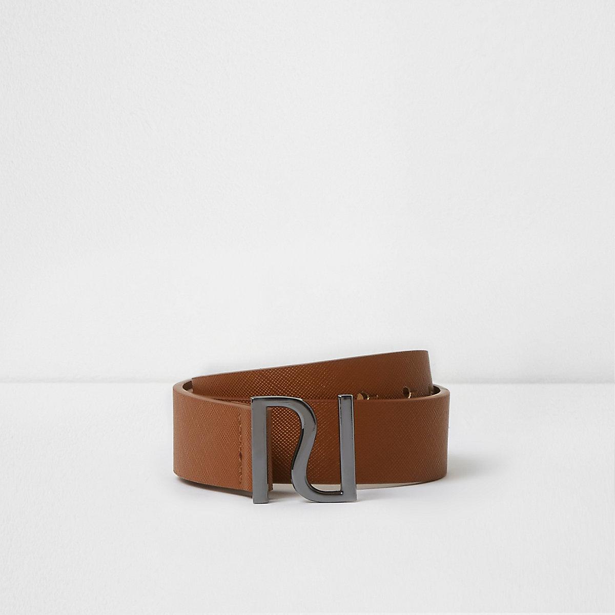 Boys brown RI pin buckle belt