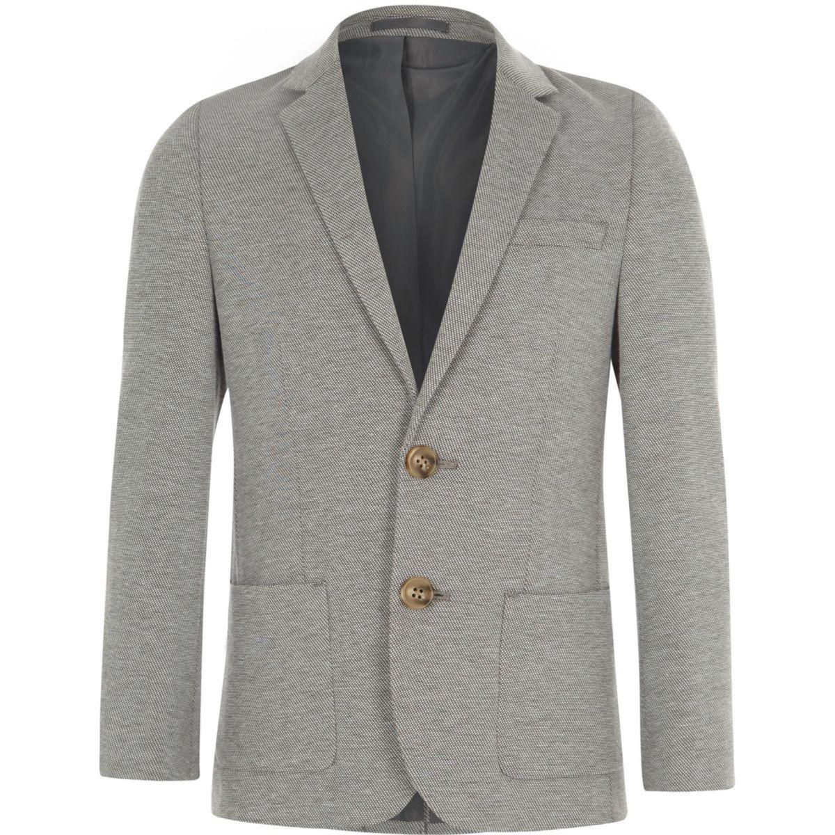Blazer en jersey gris chiné garçon