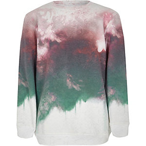 Boys red smudge fade print sweatshirt