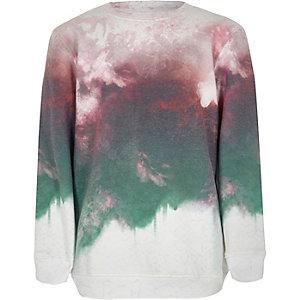 Boys red smudge fade print sweatshirt