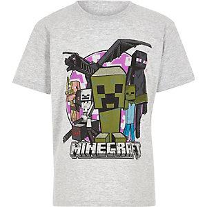 Hellgraues T-Shirt mit Minecraft-Druck