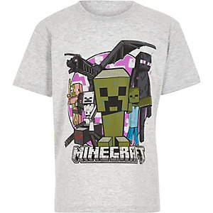 Lichtgrijs T-shirt met Minecraft-print voor jongens