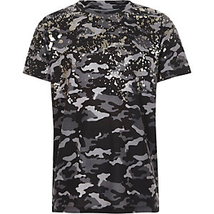 Boys grey camo foil splatter print T-shirt
